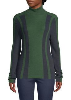 Piazza Sempione Wool & Silk Intarsia Knit Turtleneck