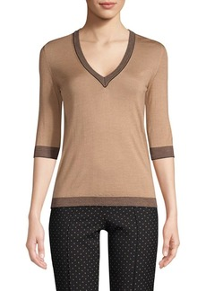 Piazza Sempione Wool-Silk V-Neck Top