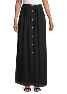 Pierre Balmain Buttoned Silk Long Skirt