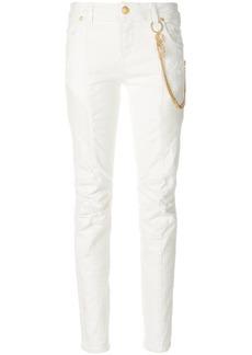 Pierre Balmain chain-embellished biker skinny jeans