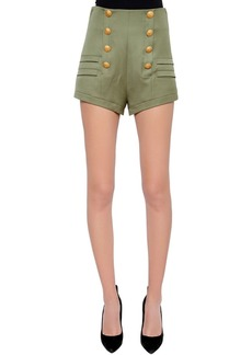 Pierre Balmain High Rise Wool Canvas Shorts