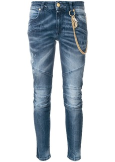 Pierre Balmain biker jeans with hanging chains - Blue