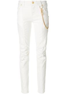 Pierre Balmain chain-embellished biker skinny jeans - White
