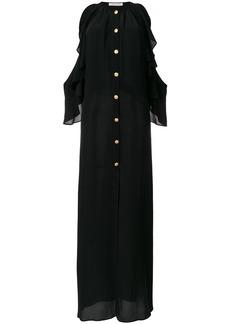 Pierre Balmain cold shoulder ruffle trim dress - Black