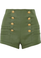 Pierre Balmain Woman Button-embellished Wool Shorts Army Green