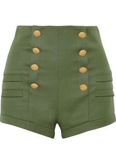 Pierre Balmain Woman Button-embellished Wool Shorts Army Green