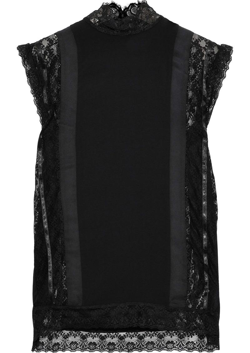 Pierre Balmain Woman Lace And Satin-trimmed Crepe De Chine Top Black