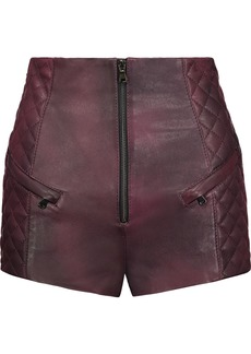Pierre Balmain Woman Quilted Leather Shorts Burgundy