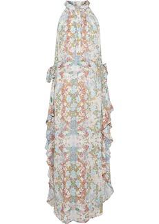 Pierre Balmain Woman Ruffled Printed Silk Crepe De Chine Midi Dress Cream