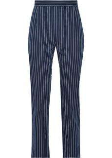 Pierre Balmain Woman Striped Cotton-blend Tapered Pants Navy