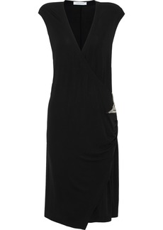 Pierre Balmain Woman Wrap-effect Appliquéd Cady Dress Black