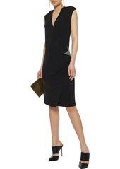 Pierre Balmain Woman Wrap-effect Appliquéd Cady Dress Black