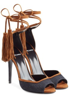 Pierre Hardy Denim Sandals with Tassel Ankle Tie