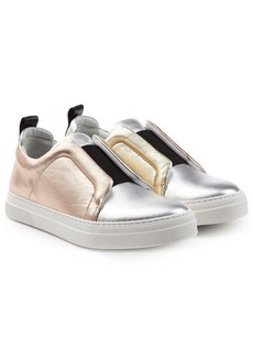 Pierre Hardy Metallic Leather Slip-On Sneakers