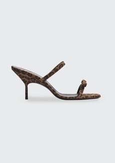 Pierre Hardy 70mm Leopard-Print Suede Bow Slide Sandals