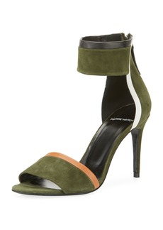 Pierre Hardy Colorblock Suede Ankle-Cuff Sandal