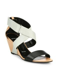 Pierre Hardy KL10 Leather Crisscross Wedge Sandals