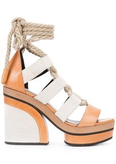 Pierre Hardy lace-up platform sandals - Brown