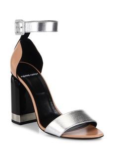 Pierre Hardy Memphis Colorblock Metallic Leather Block Heel Sandals