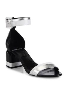 Pierre Hardy Memphis Metallic Leather Block Heel Sandals