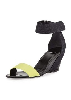 Pierre Hardy Neon Denim & Leather Wedge Sandal