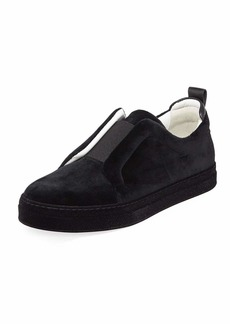 Pierre Hardy Slider Velvet Slip-On Low-Top Sneakers
