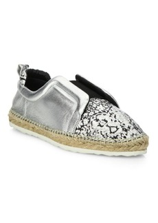 Pierre Hardy Sliderdrille Metallic Leather Espadrille Sneakers