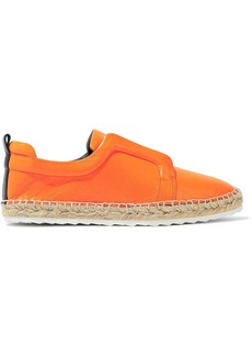 Pierre Hardy Woman Neon Leather Espadrille Slip-on Sneakers Orange
