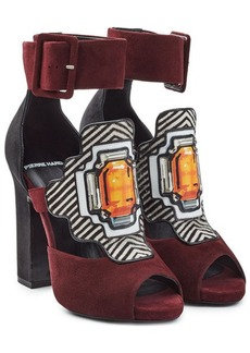 Pierre Hardy Suede Sandals with Printed Applique