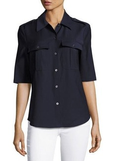 Pink Tartan Military Wool-Blend Shirt