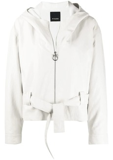 Pinko belted hooded jacket