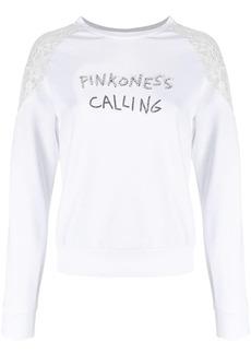 Pinko embellished slogan sweatshirt