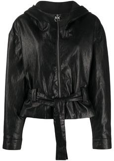 Pinko hooded leather-effect jacket