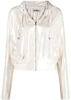 Pinko laminated zip-up cropped jacket