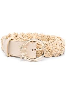 Pinko leather-trim woven raffia belt