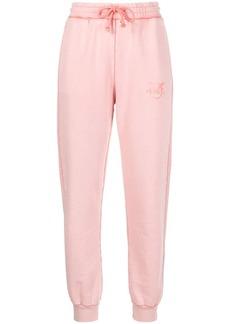 Pinko logo-embroidered cotton track pants