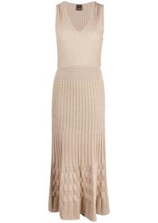 Pinko metallic-knit V-neck dress