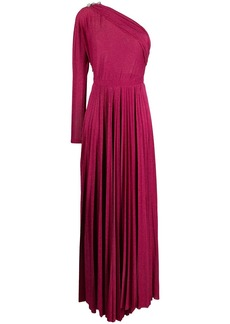 Pinko one-shoulder metallic pleated gown