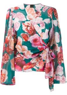Pinko rose-print wrap blouse