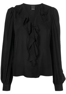 Pinko ruffle-trimmed V-neck blouse