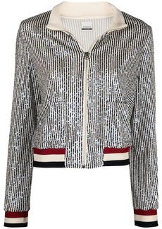 Pinko sequin-embellished zip-up fitted jacket
