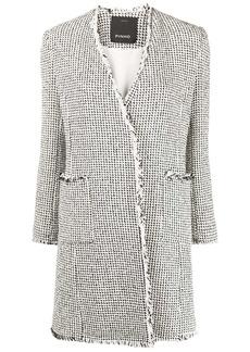 Pinko tweed-effect frayed coat