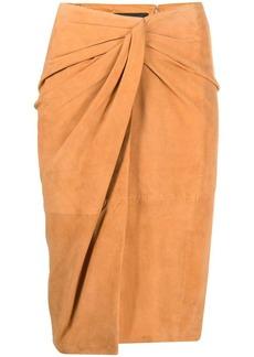 Pinko twist-detail suede skirt