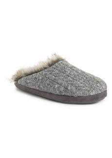 PJ Salvage Faux Fur Trim Cable Knit Slipper (Women)
