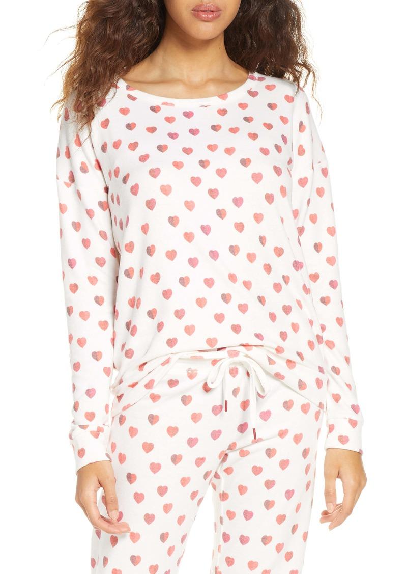PJ Salvage Heart Print Pajama Top