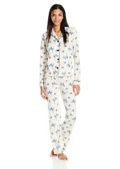 PJ Salvage Women's Blue Batik Boyfriend 2 Pc Pajama Set  L
