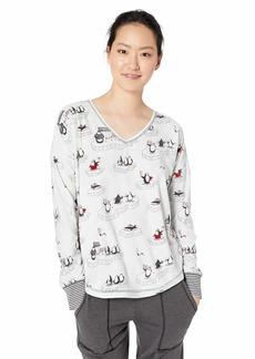 PJ Salvage Women's Long Sleeve Printed Pajama Shirt V.I.P. Silver