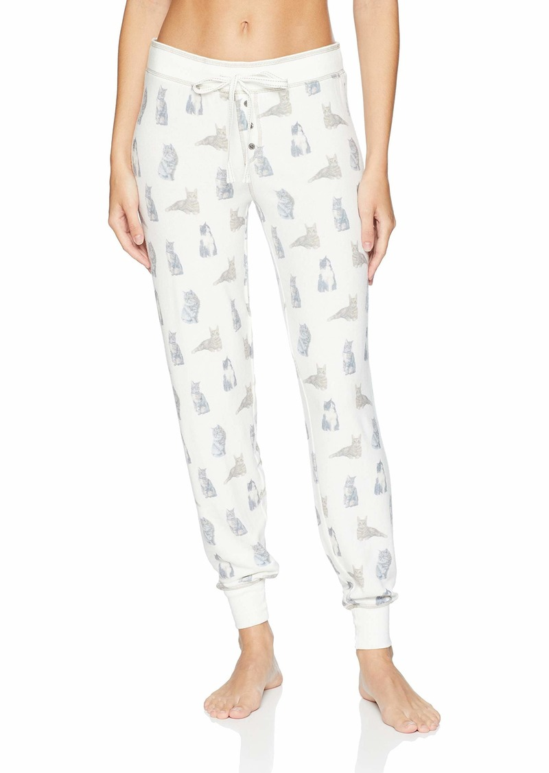 PJ Salvage Women's Lounge Banded Pajama Pant Raining Cats and Dogs Natural