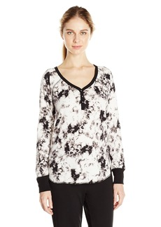 PJ Salvage Women's Marble Tye Dye Henley Shirt  M
