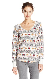 PJ Salvage Women's Mountains are Calling Henley Shirt  S